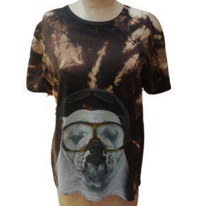 Reverse tie dye cool bull dog graphic tee t shirt